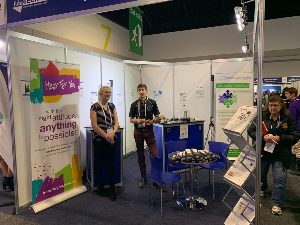 Loving meeting all the people at Edutech 2019. Come and meet some of the team and the team from Hear For You at #404