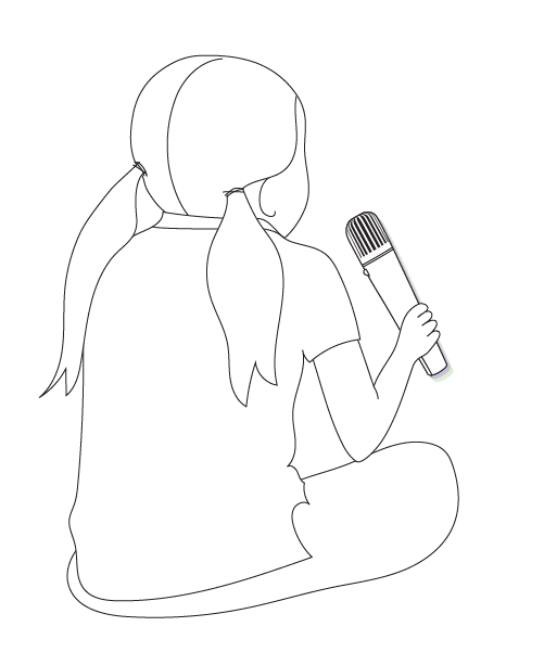 Girl with pass-around microphone